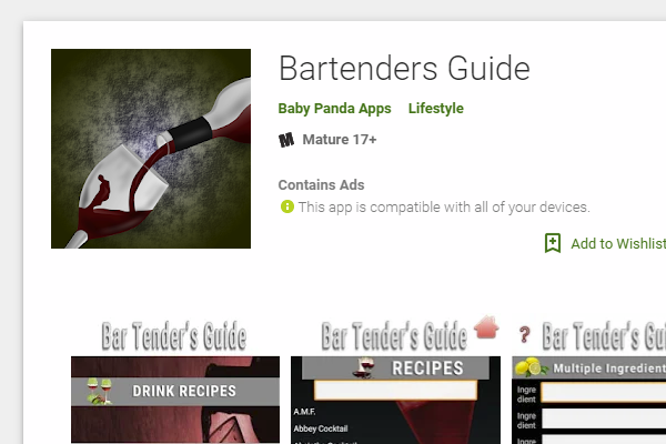 screenshot bartenders guide card app store