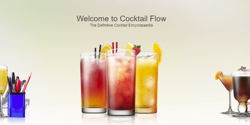 Cocktail flow app for bartending ios and android picture of their home page