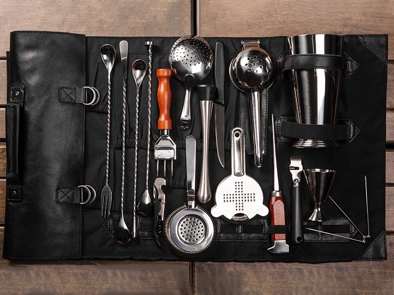 Leather Bar Kit With bartending tools Sideshow Pete