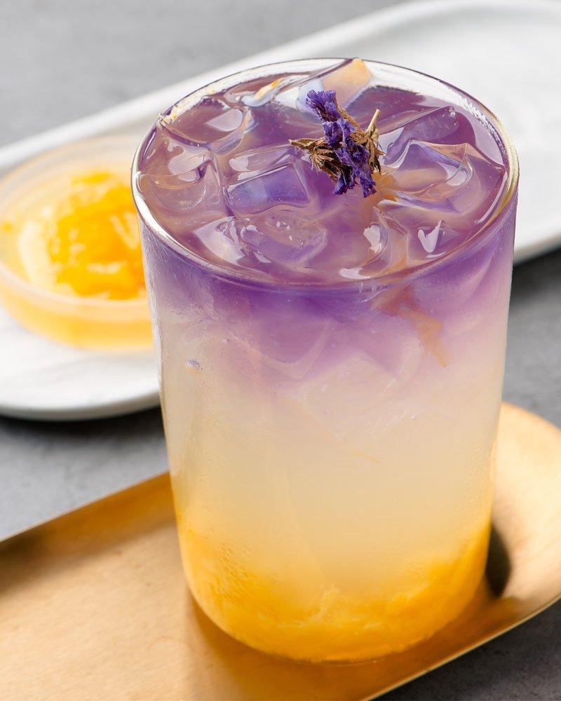 Royal Hawaiian cocktail Empress 1908 Gin purple layered tropical