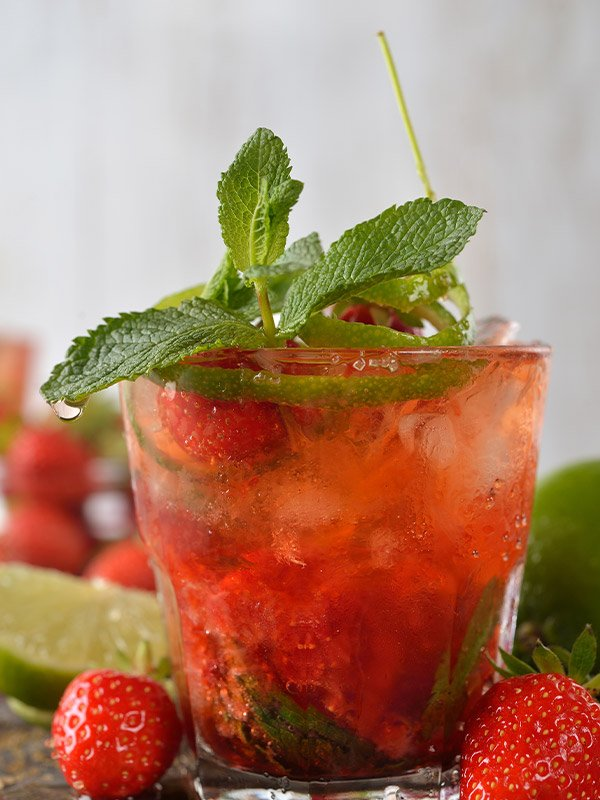 Strawberry Mojito with mint made with strawberry simple syrup SideshowPete