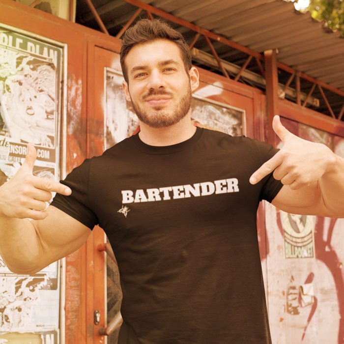 Fit man black shirt says Bartender in block font