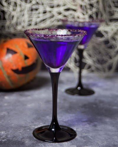 Hello My Sweet Halloween Cocktail Vodka Blue Curaco Grenadine
