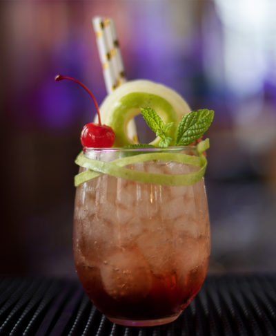 cuba libre with apple mint and cherry